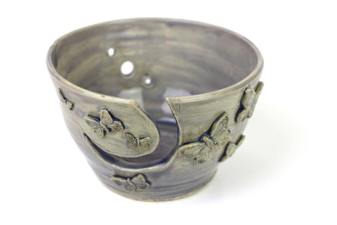 Yarn Bowl - Lavender Yarn Bowl With Butterflies