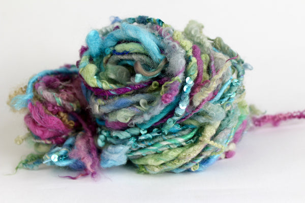 Mermaid Art Yarn - Sequin hand spun yarn