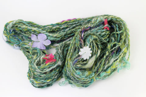 Flower Garden  -  Handspun yarn  - two ply
