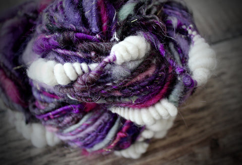 Purple Sky, White Clouds Handspun