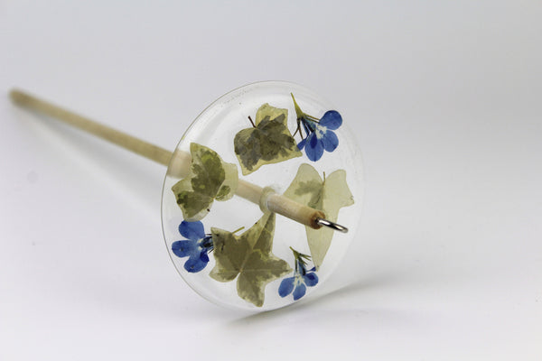 Pressed Ivy and Flowers Drop Spindle
