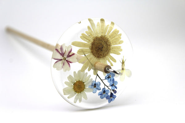 Pressed Flowers Drop Spindle