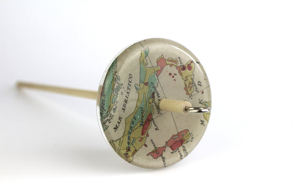 Patterned Drop Spindle With Vintage Map of Italy #102