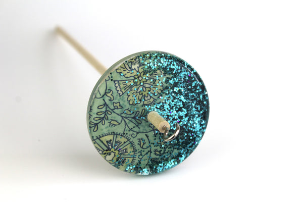 Turquoise Patterned Drop Spindle #118