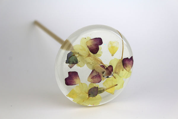 Pressed Flowers Drop Spindle #156