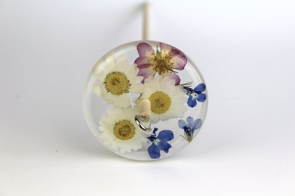 Pressed Flowers Drop Spindle #165