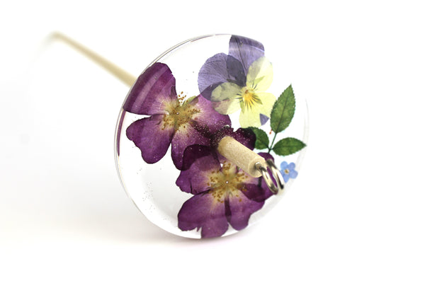 Pressed Flowers Drop Spindle #172