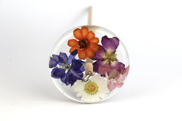 Pressed Flowers Drop Spindle #175