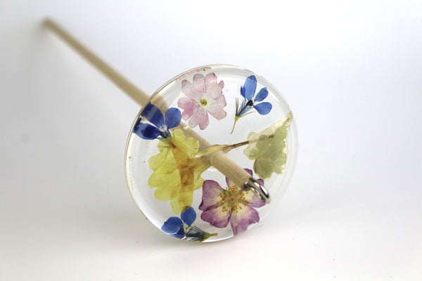 Pressed Flowers Drop Spindle #179