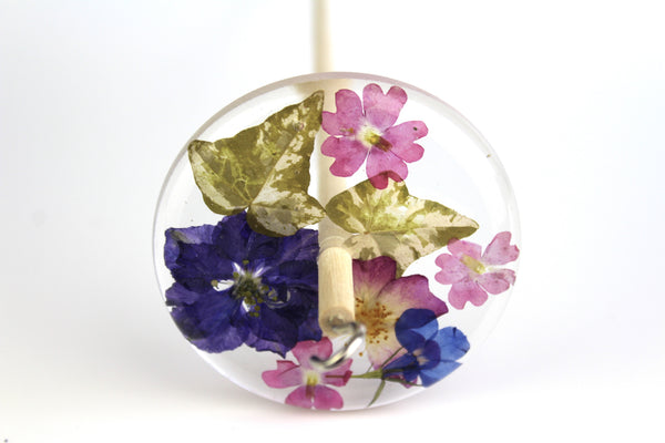 Pressed Flowers Drop Spindle #187