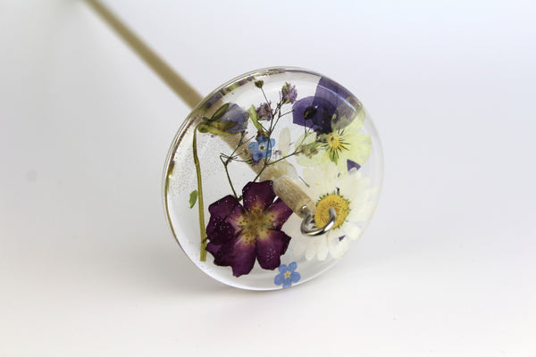 Pressed Flowers Drop Spindle #189