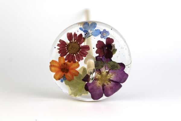 Pressed Flowers Drop Spindle #194