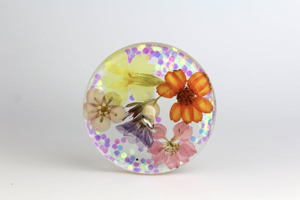 Glittery Pressed Flowers Drop Spindle #215