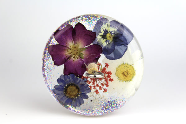 Glittery Pressed Flowers Drop Spindle #216