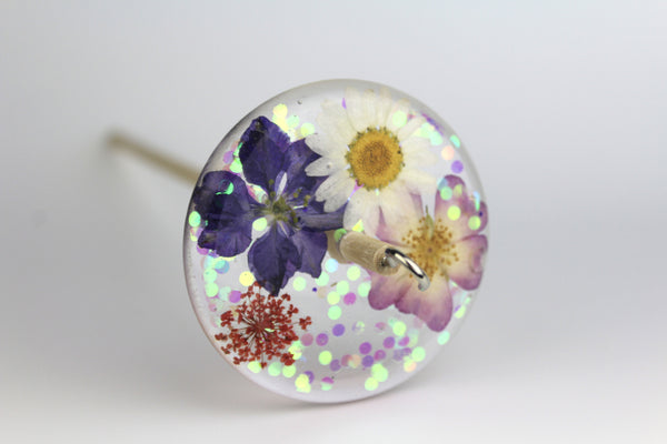Glittery Pressed Flowers Drop Spindle #217