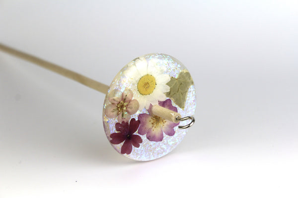 Glittery Pressed Flowers Drop Spindle #218