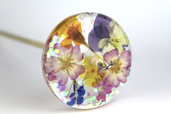 Glittery Pressed Flowers Drop Spindle #219