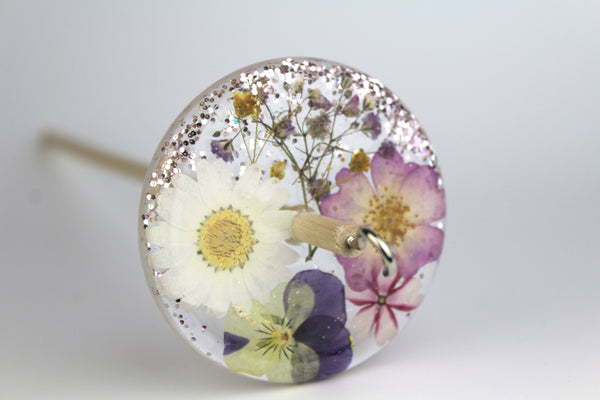 Glittery Pressed Flowers Drop Spindle #220