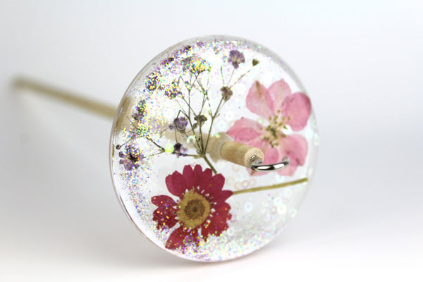 Glittery Pressed Flowers Drop Spindle #221