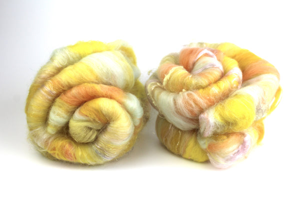 Build Me Up Buttercup -  Hand carded batt -  Spinning Fibre