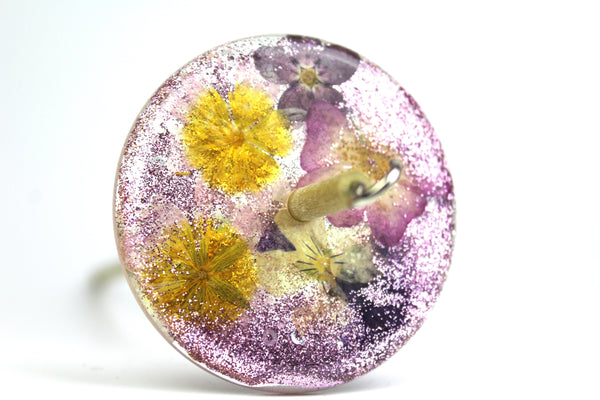 Floral Drop Spindle with Glitter #279