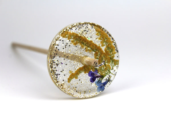 Floral Drop Spindle with Glitter #284