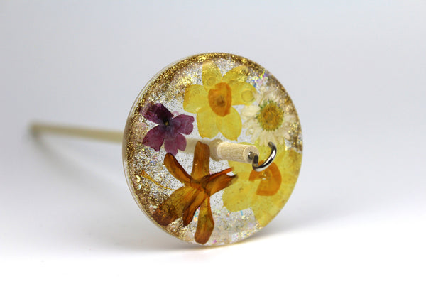 Floral Drop Spindle with Glitter #295