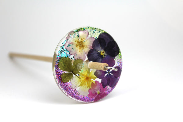 Glittery Pressed Flowers Drop Spindle #325