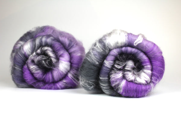 Amethyst Gradient- Hand Carded Batt For Spinning Or Felting