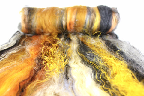Golden Storm - Hand Carded Batt For Spinning Or Felting