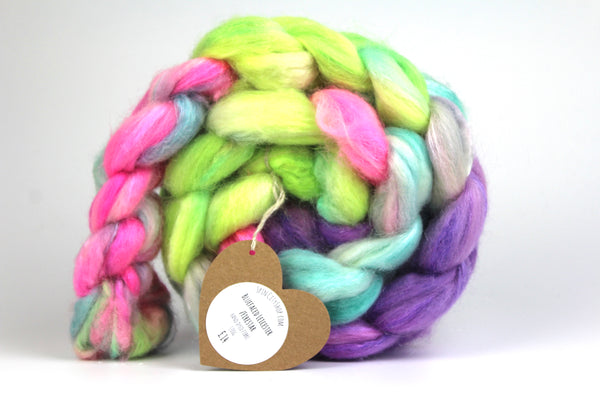 Sugar Rush  - Hand Dyed Roving BFL/ Firestar