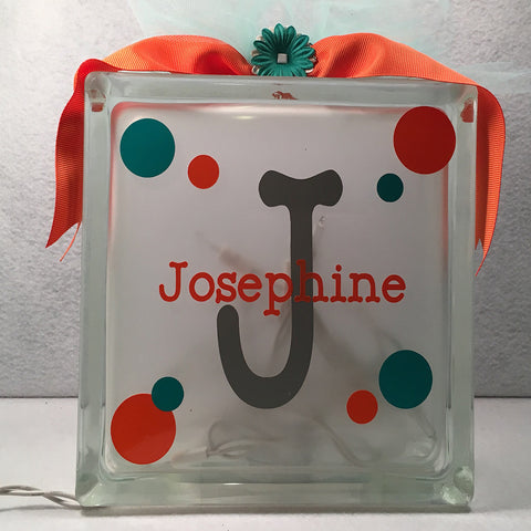 Custom Name Lighted Glass Block