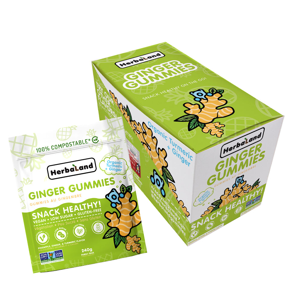 ginger gummies vegan snack food herbaland gummies low-sugar