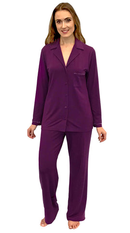 Shadowline Notched Collar Modal Pajama Set