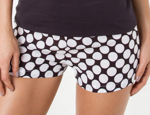 Silk & Soul Lunares Woven Shorts — Black & White Dot