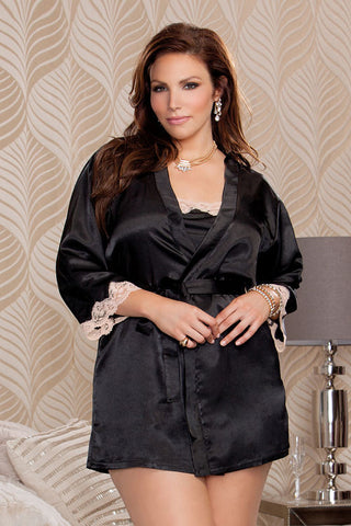 iCollection Lace Trim Satin Robe