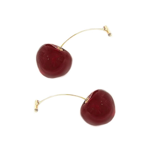 Gold Stem Cherry Earrings