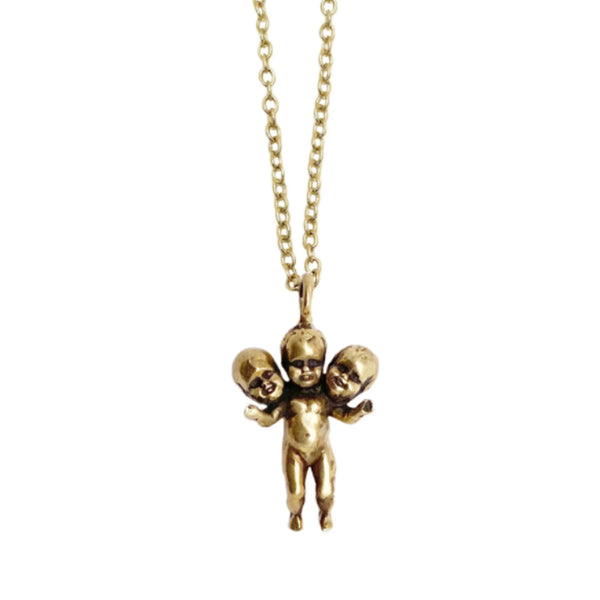 Three Headed Baby Charm Necklace
