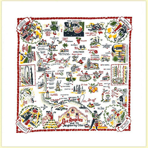 Los Angeles Map Souvenir Towel