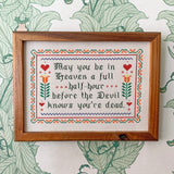 Handmade Cross-Stitch - The Devil Knows (White)