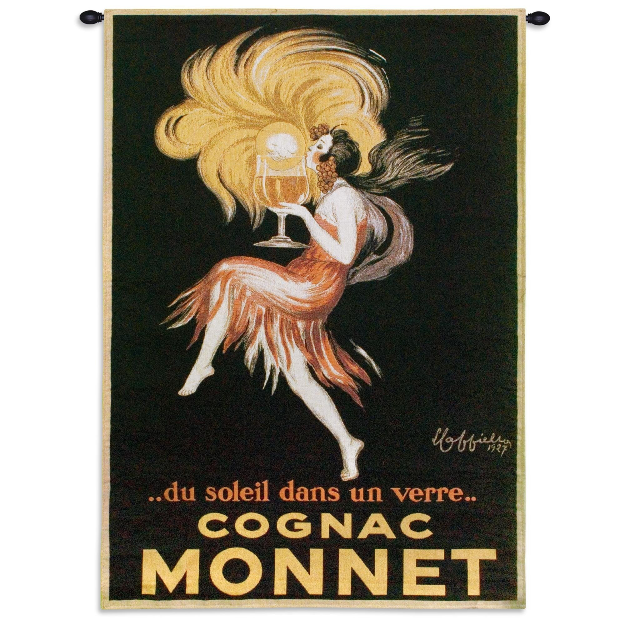 Vintage Poster Cognac Monnet Woven Bar Decor