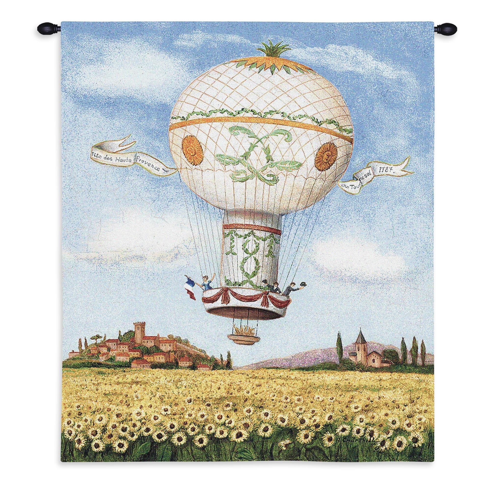 Hot Air Balloon Flight Over Sunflowers Wall Decor