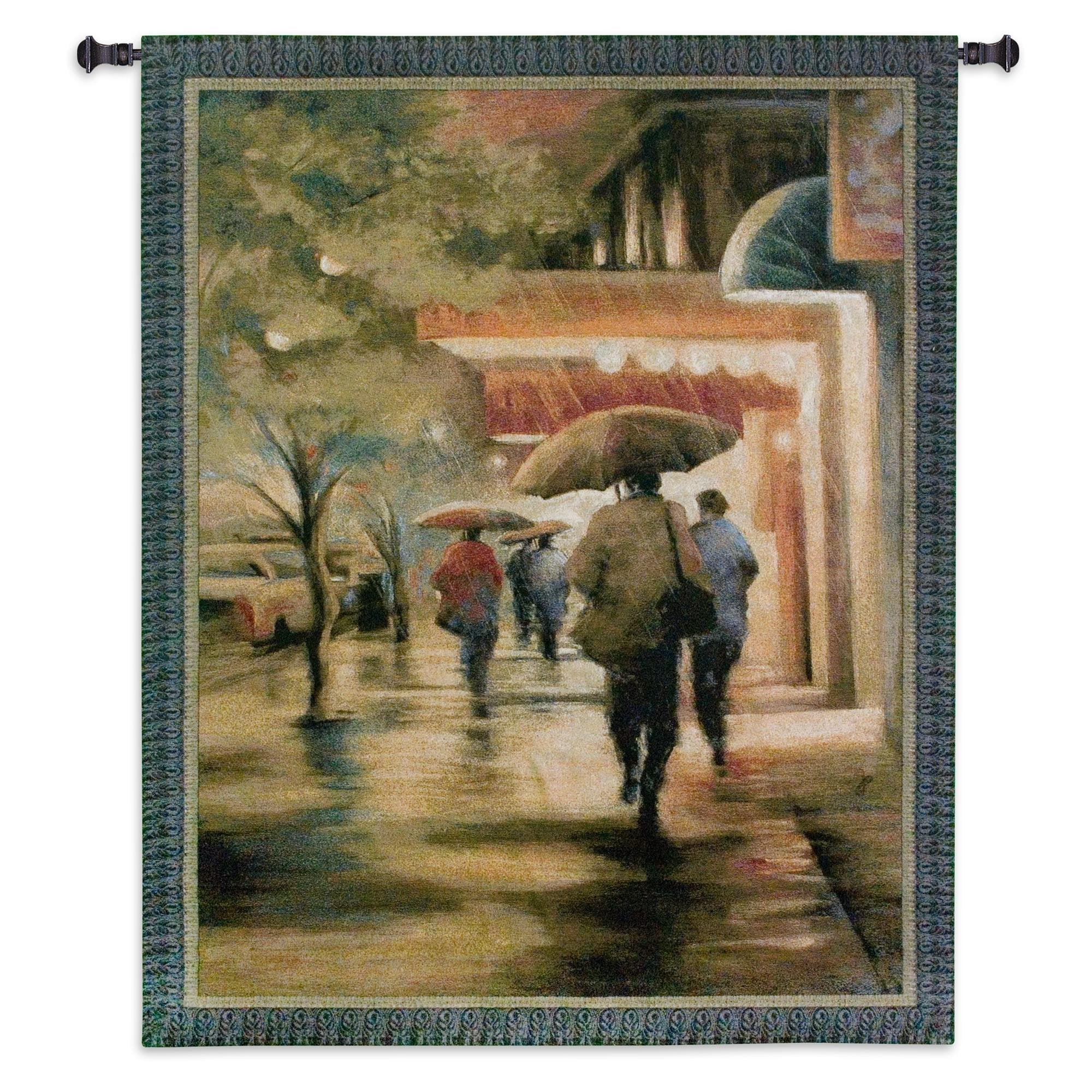 New York City in Evening Rain Wall Woven Textile Art