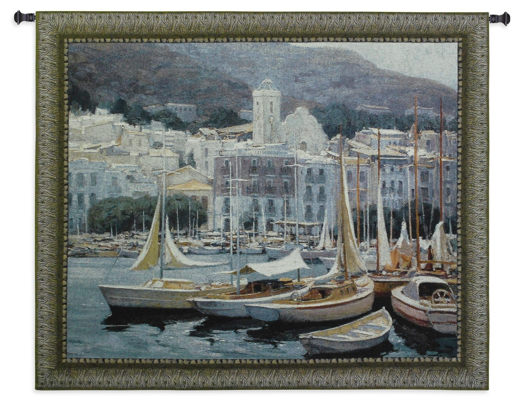 Sailboats in European Harbor Wall Tapestry