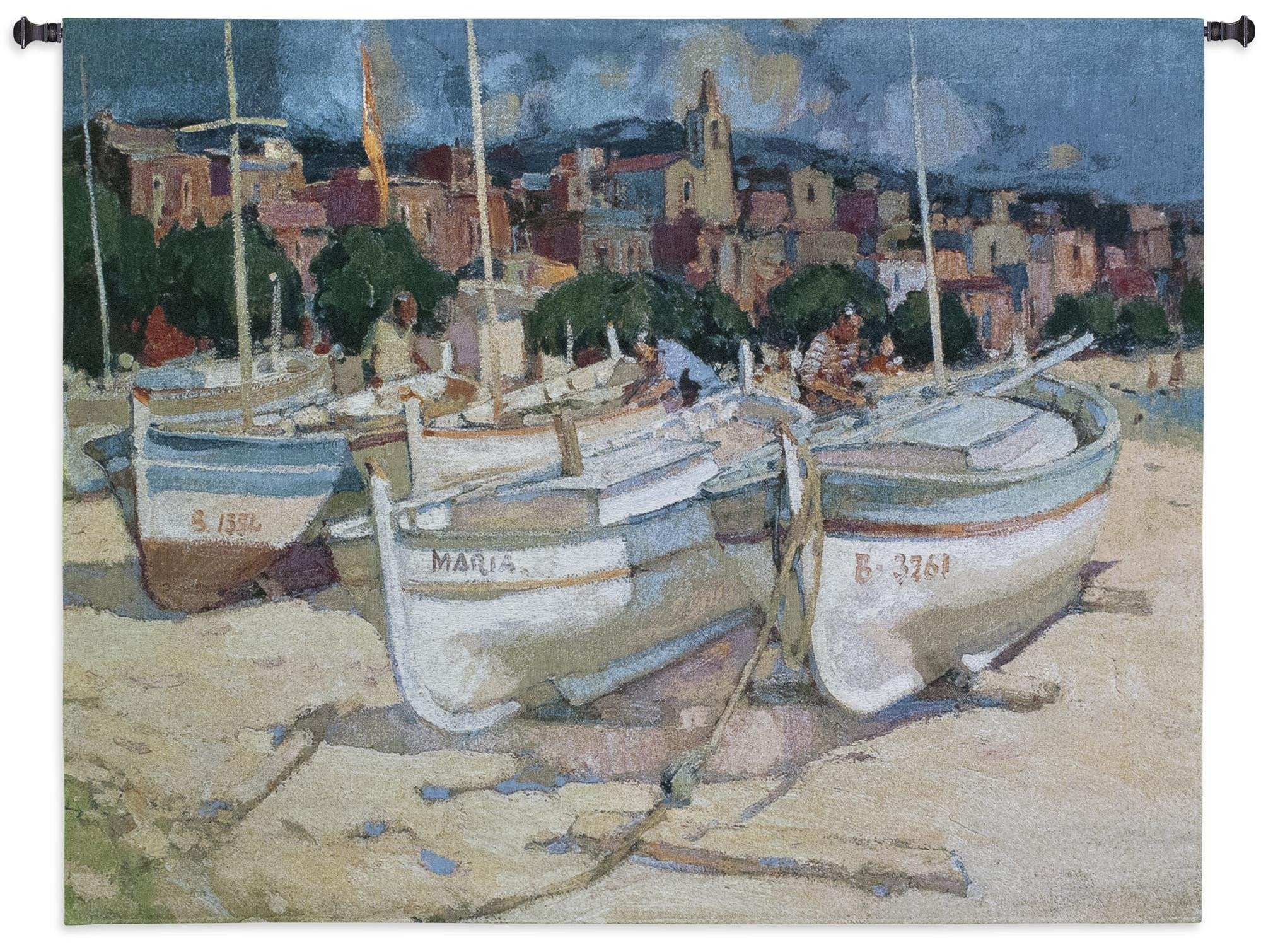 Sailboats The Maria Beach Sand Textile Tapestry