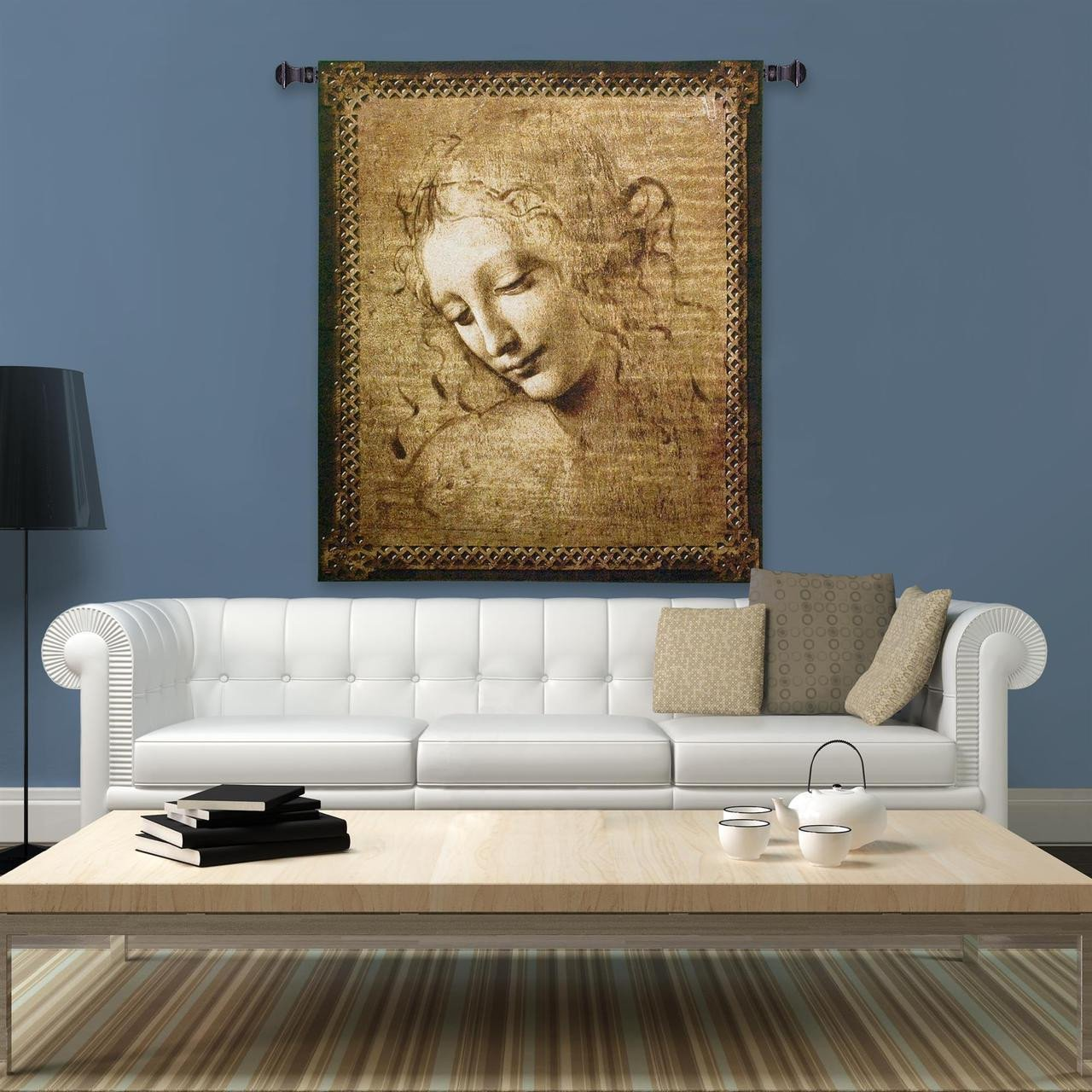 Head Of A Woman European Style Jacquard Woven Wall Tapestry
