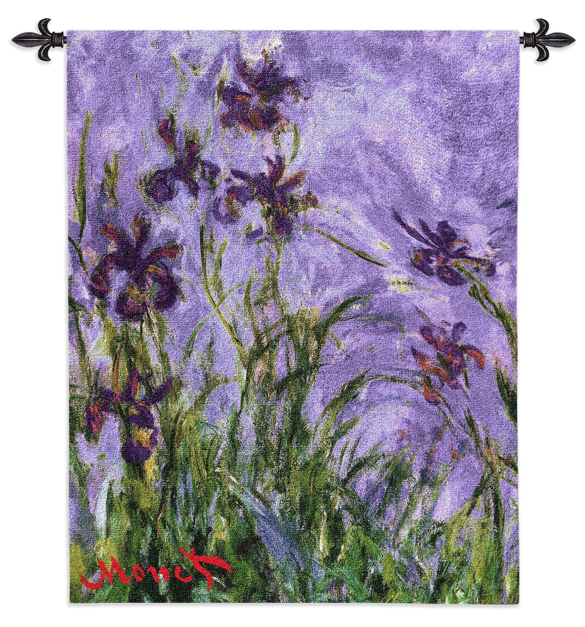 Purple Monet Iris Flowers Woven Wall Hanging