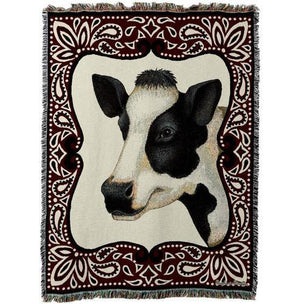 Red Black and White Cow Woven Throw Tapestry