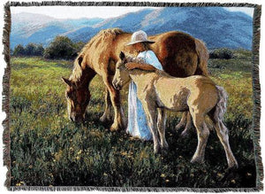 Horse Woven Tapestry Throw