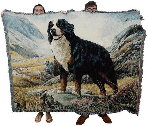 Bernese Mountain Dog Woven Throw Blanket